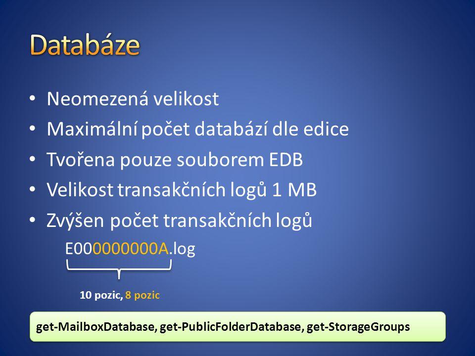 Databáze Neomezená velikost Maximální počet databází dle edice