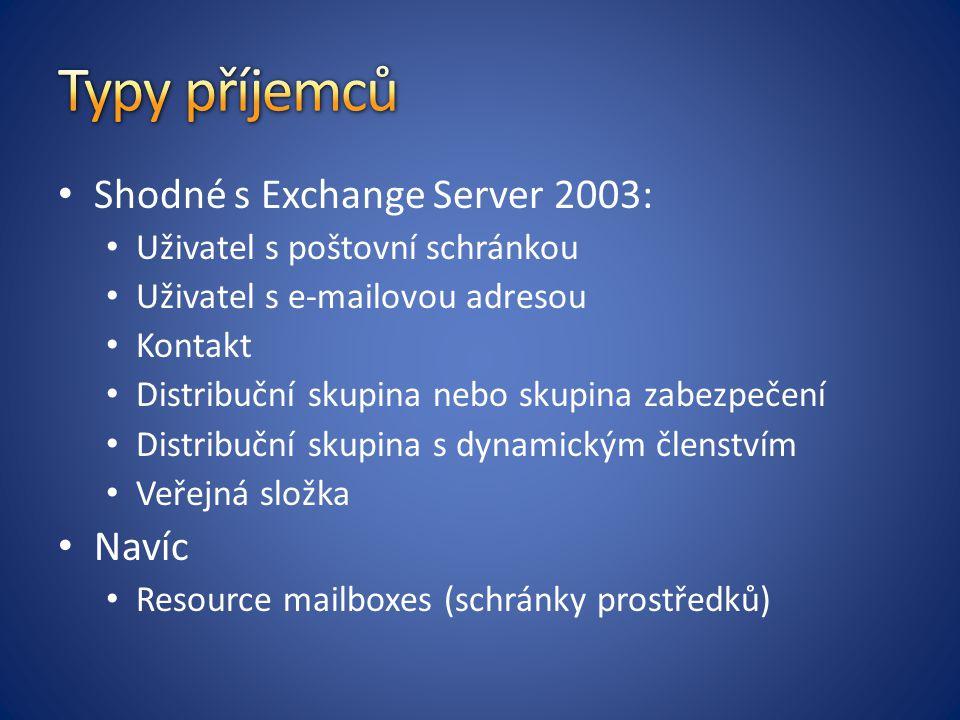 Typy příjemců Shodné s Exchange Server 2003: Navíc