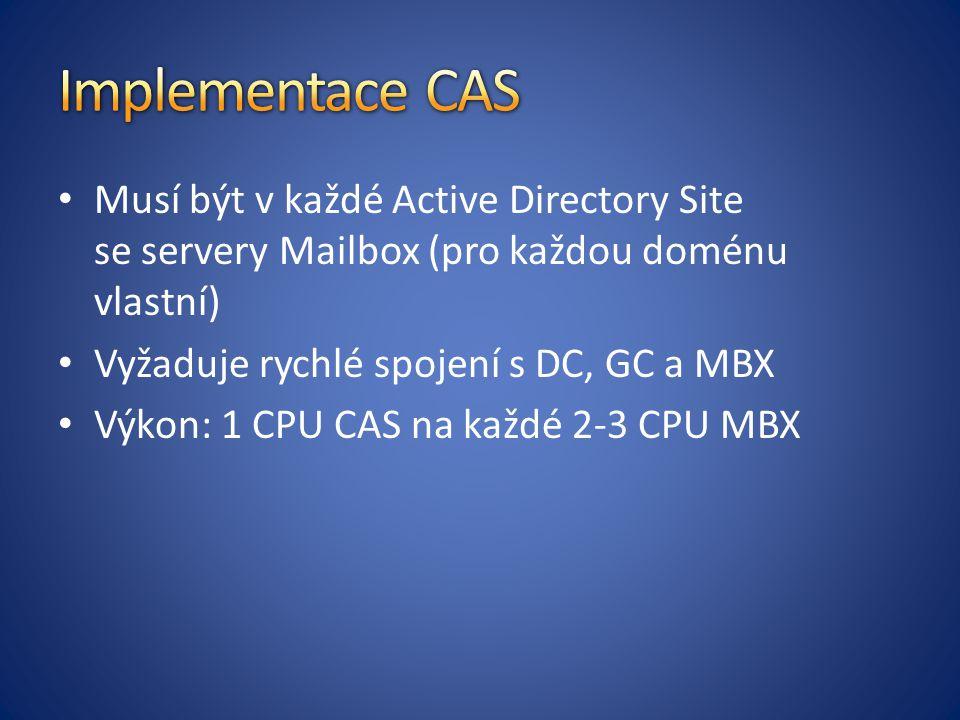 Implementace CAS Musí být v každé Active Directory Site se servery Mailbox (pro každou doménu vlastní)
