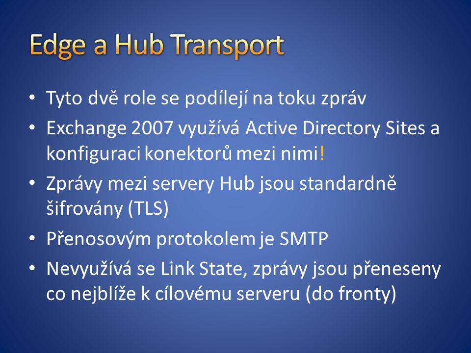 Edge a Hub Transport Tyto dvě role se podílejí na toku zpráv