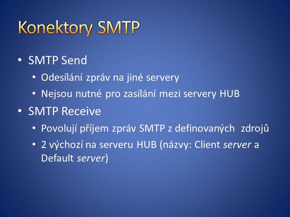 Konektory SMTP SMTP Send SMTP Receive Odesílání zpráv na jiné servery