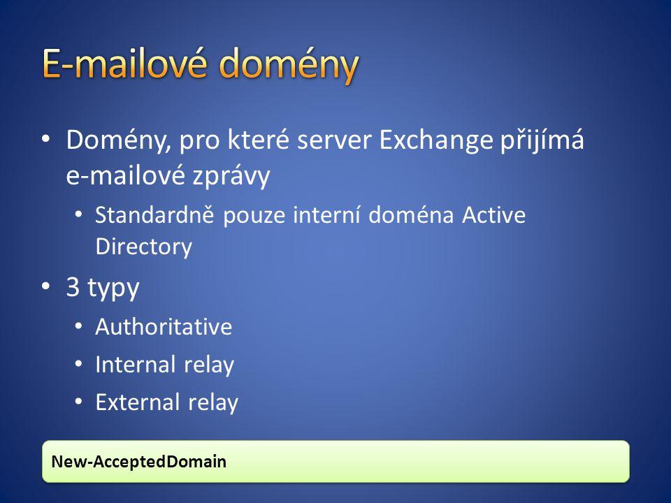 E-mailové domény Domény, pro které server Exchange přijímá e-mailové zprávy. Standardně pouze interní doména Active Directory.