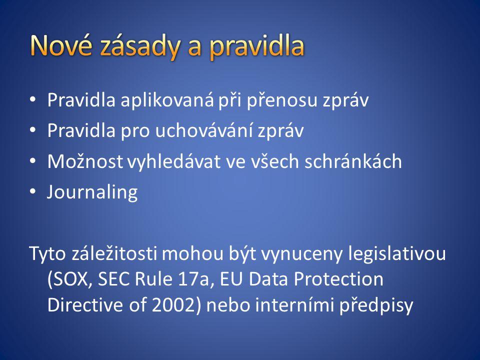 Nové zásady a pravidla Pravidla aplikovaná při přenosu zpráv