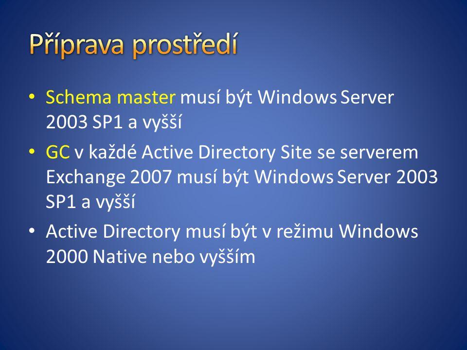 Příprava prostředí Schema master musí být Windows Server 2003 SP1 a vyšší.