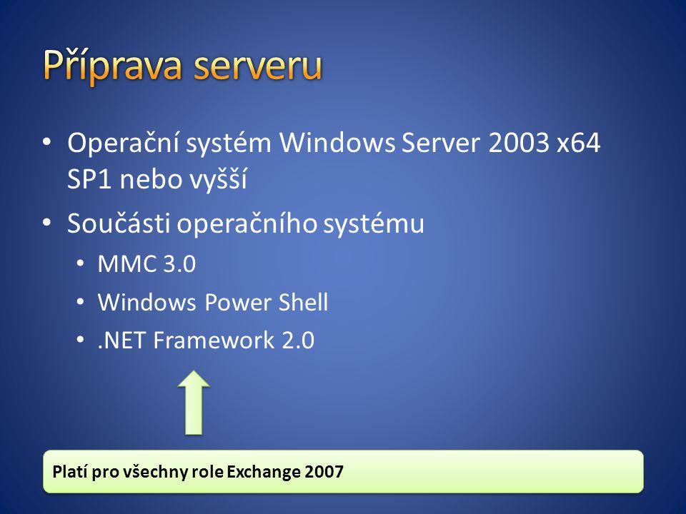 Příprava serveru Operační systém Windows Server 2003 x64 SP1 nebo vyšší. Součásti operačního systému.