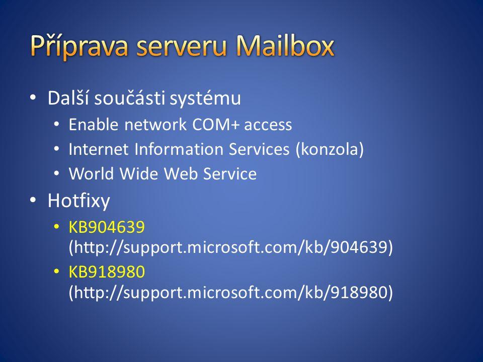 Příprava serveru Mailbox