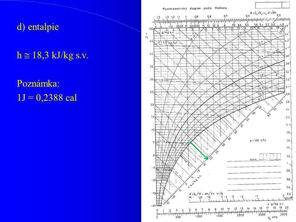 d) entalpie h  18,3 kJ/kg s.v. Poznámka: 1J = 0,2388 cal