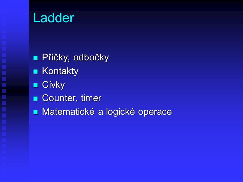 Ladder Příčky, odbočky Kontakty Cívky Counter, timer