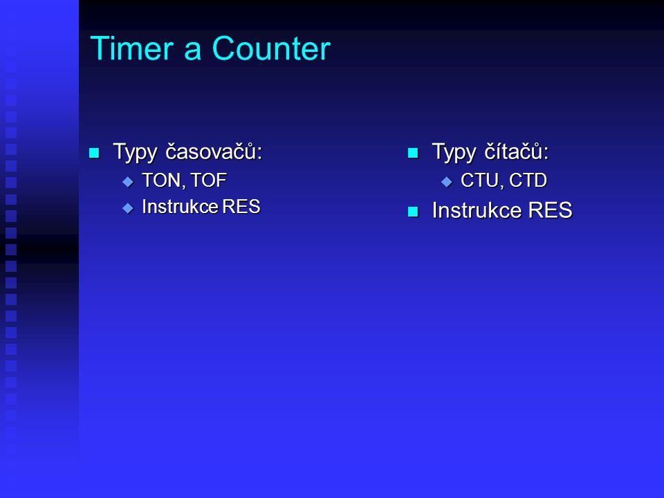 Timer a Counter Typy časovačů: Typy čítačů: Instrukce RES TON, TOF