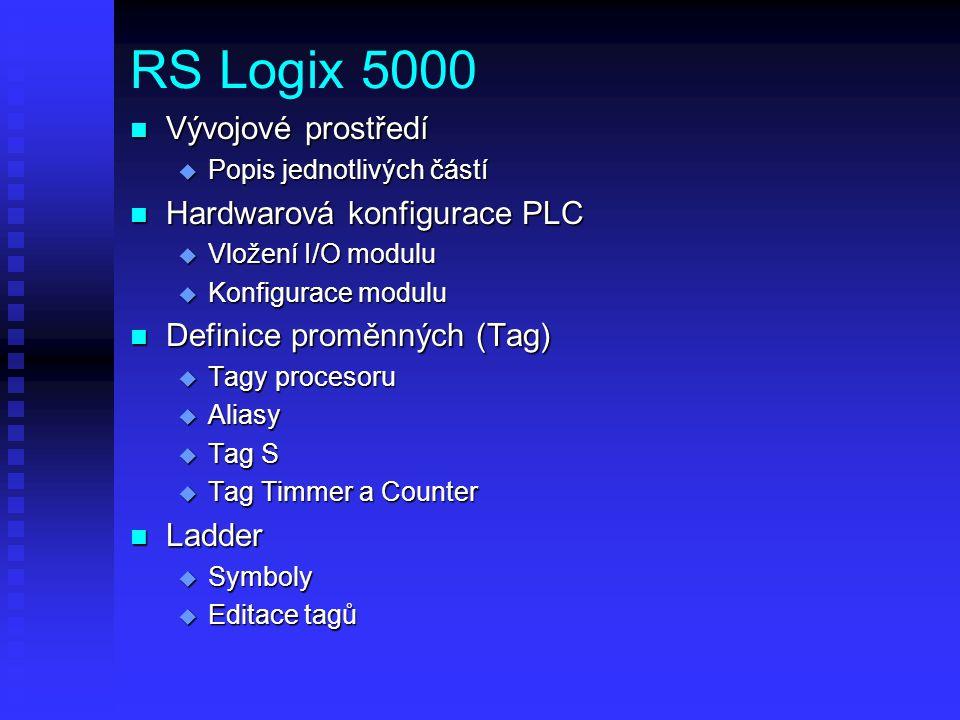 RS Logix 5000 Vývojové prostředí Hardwarová konfigurace PLC