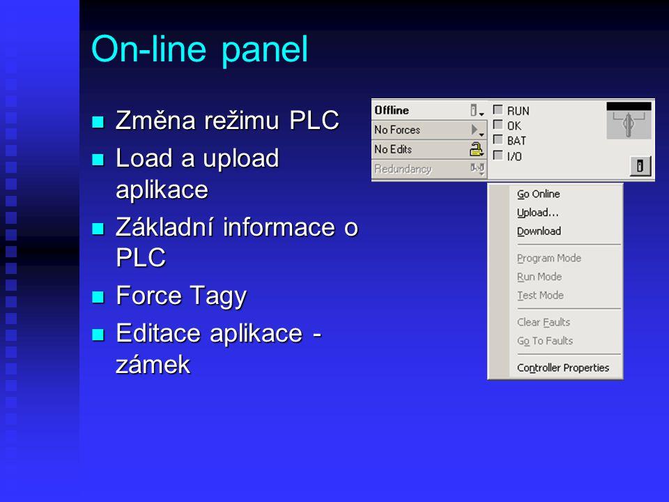 On-line panel Změna režimu PLC Load a upload aplikace