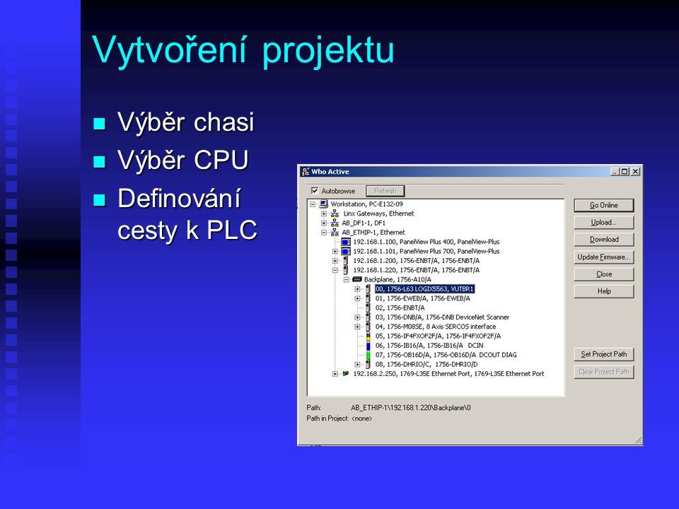 Vytvoření projektu Výběr chasi Výběr CPU Definování cesty k PLC