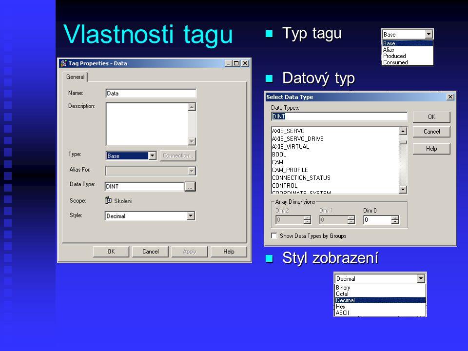 Vlastnosti tagu Typ tagu Datový typ Styl zobrazení