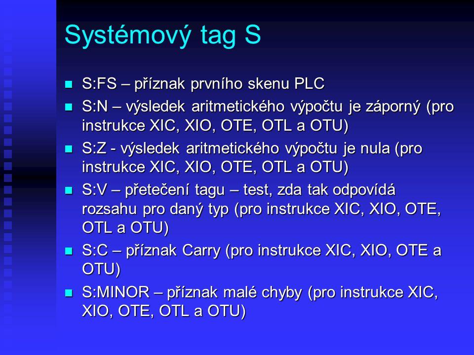 Systémový tag S S:FS – příznak prvního skenu PLC