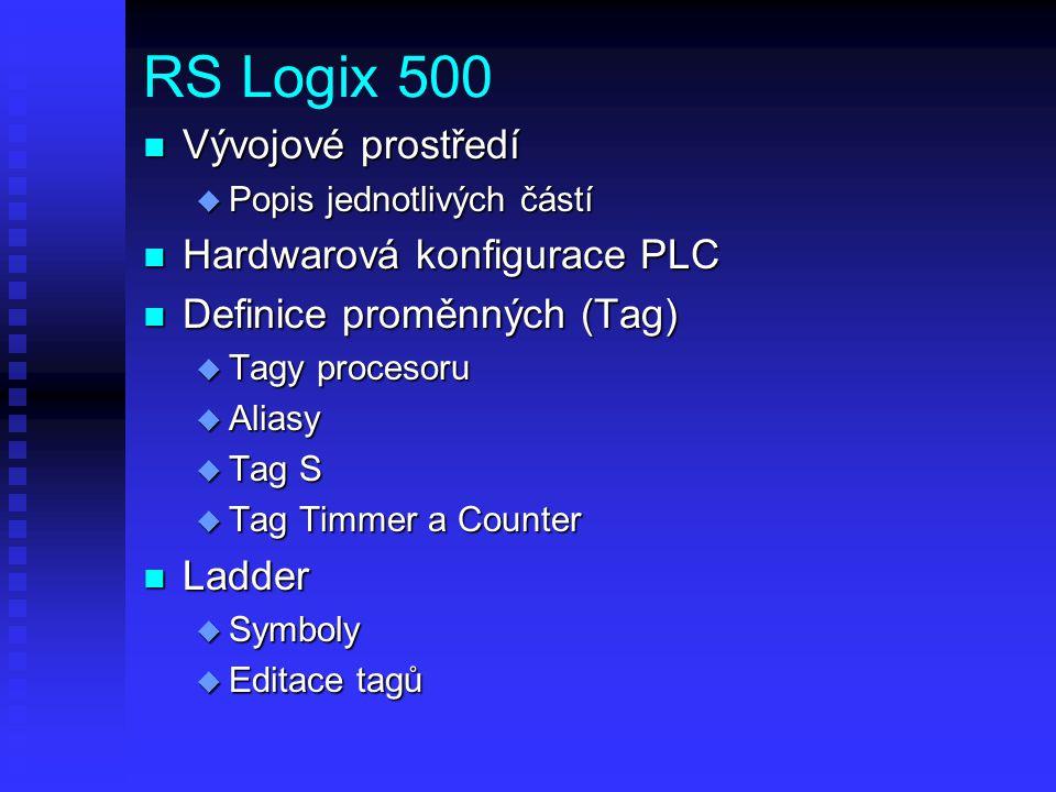 RS Logix 500 Vývojové prostředí Hardwarová konfigurace PLC