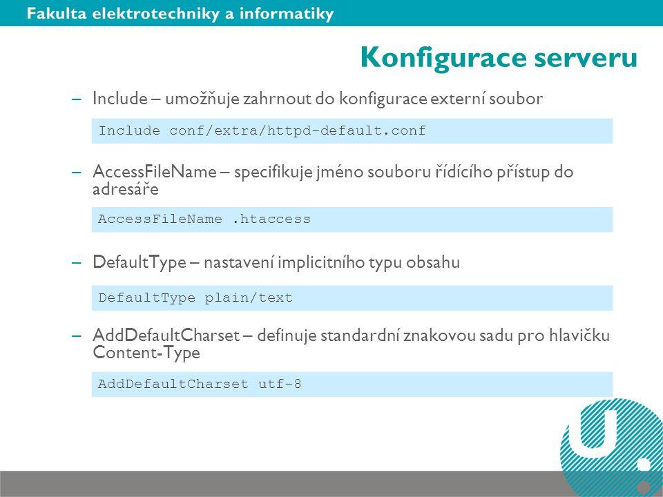 Konfigurace serveru Include – umožňuje zahrnout do konfigurace externí soubor.