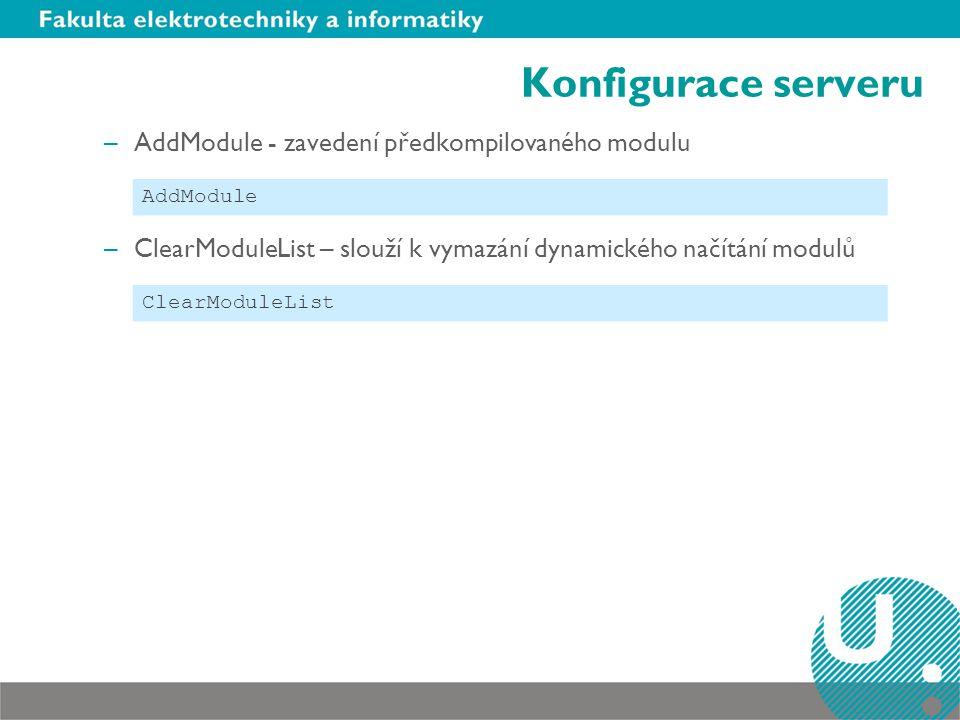 Konfigurace serveru AddModule - zavedení předkompilovaného modulu