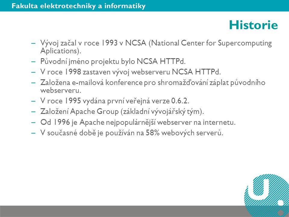 Historie Vývoj začal v roce 1993 v NCSA (National Center for Supercomputing Aplications). Původní jméno projektu bylo NCSA HTTPd.