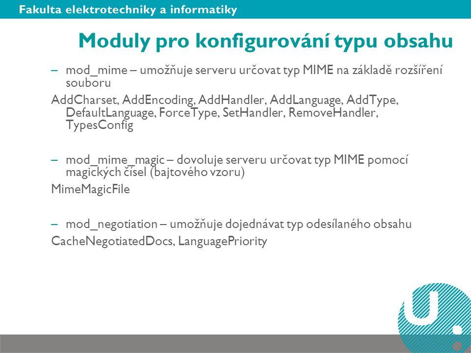 Moduly pro konfigurování typu obsahu