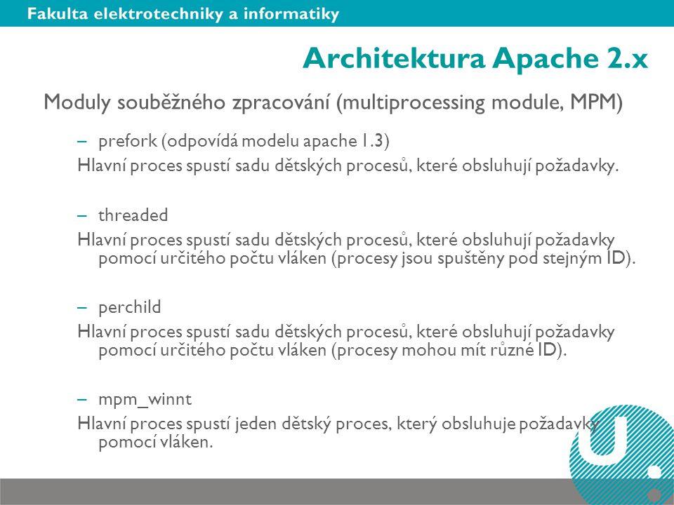 Architektura Apache 2.x Moduly souběžného zpracování (multiprocessing module, MPM) prefork (odpovídá modelu apache 1.3)