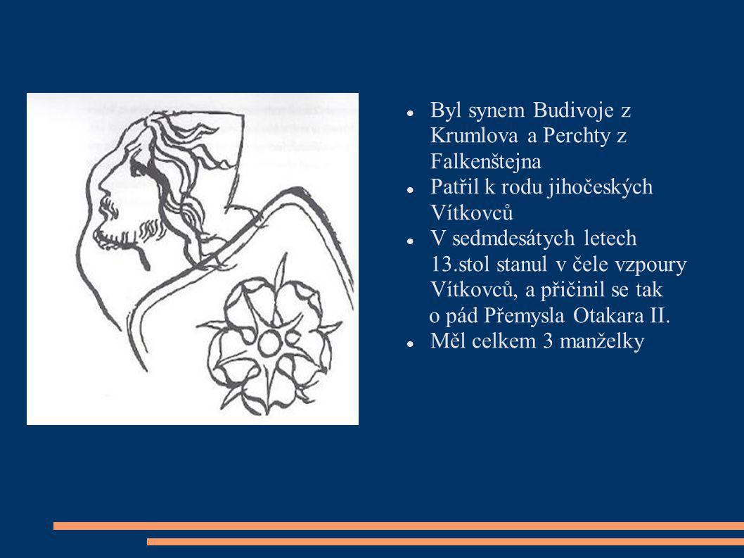 Byl synem Budivoje z Krumlova a Perchty z Falkenštejna
