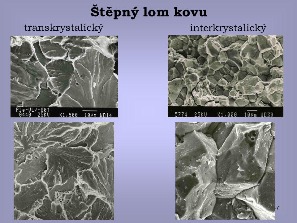 Štěpný lom kovu transkrystalický interkrystalický © eva novotná