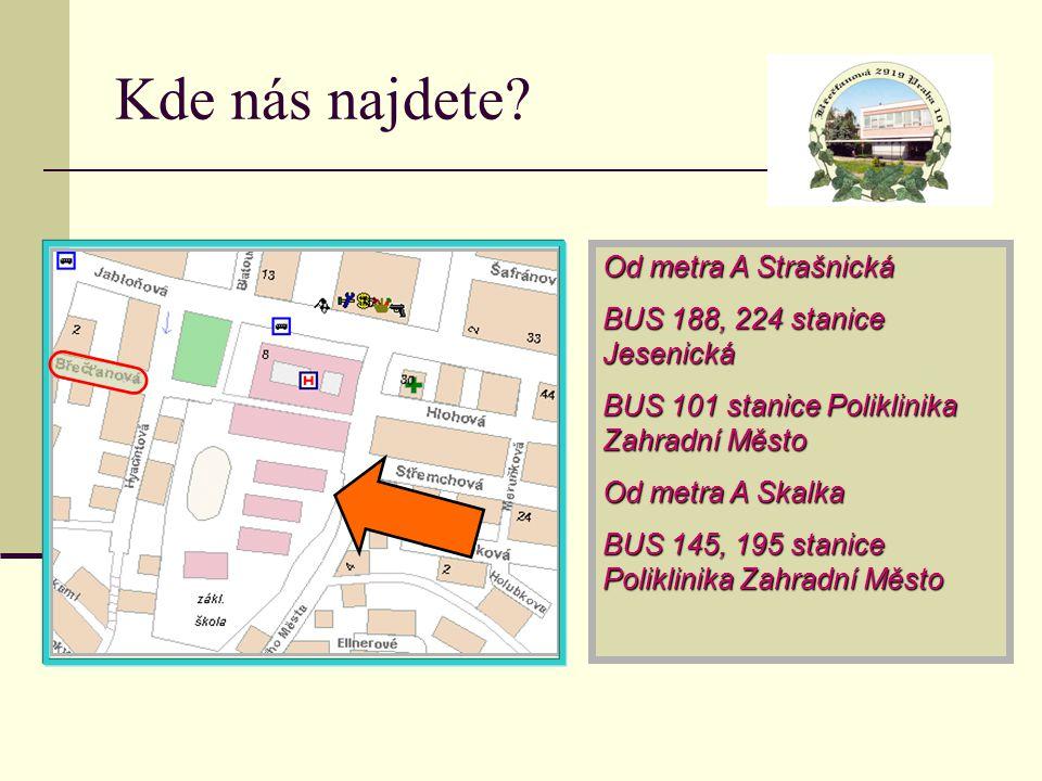 Kde nás najdete Od metra A Strašnická BUS 188, 224 stanice Jesenická