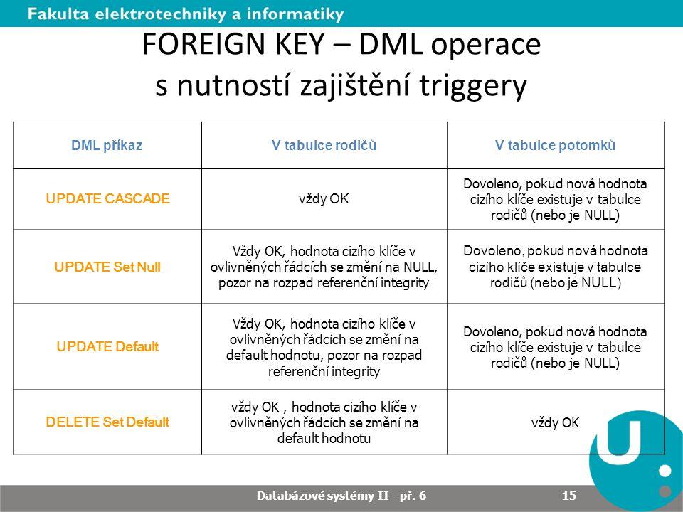 FOREIGN KEY – DML operace s nutností zajištění triggery