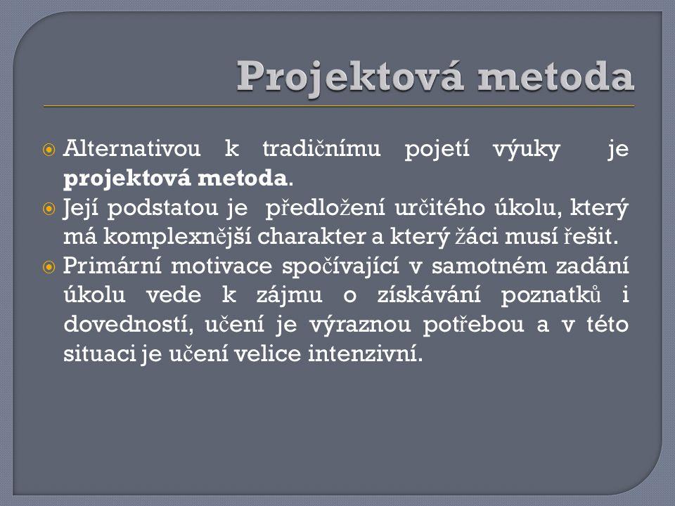 Projektová metoda Alternativou k tradičnímu pojetí výuky je projektová metoda.