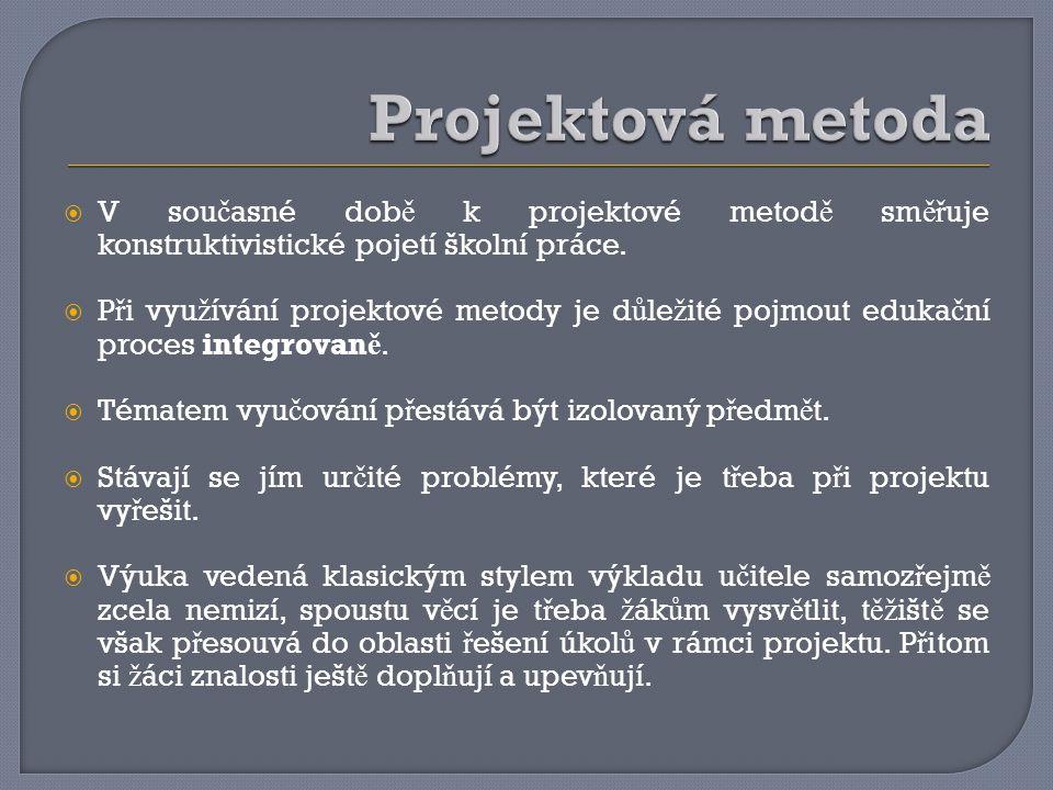 Projektová metoda V současné době k projektové metodě směřuje konstruktivistické pojetí školní práce.