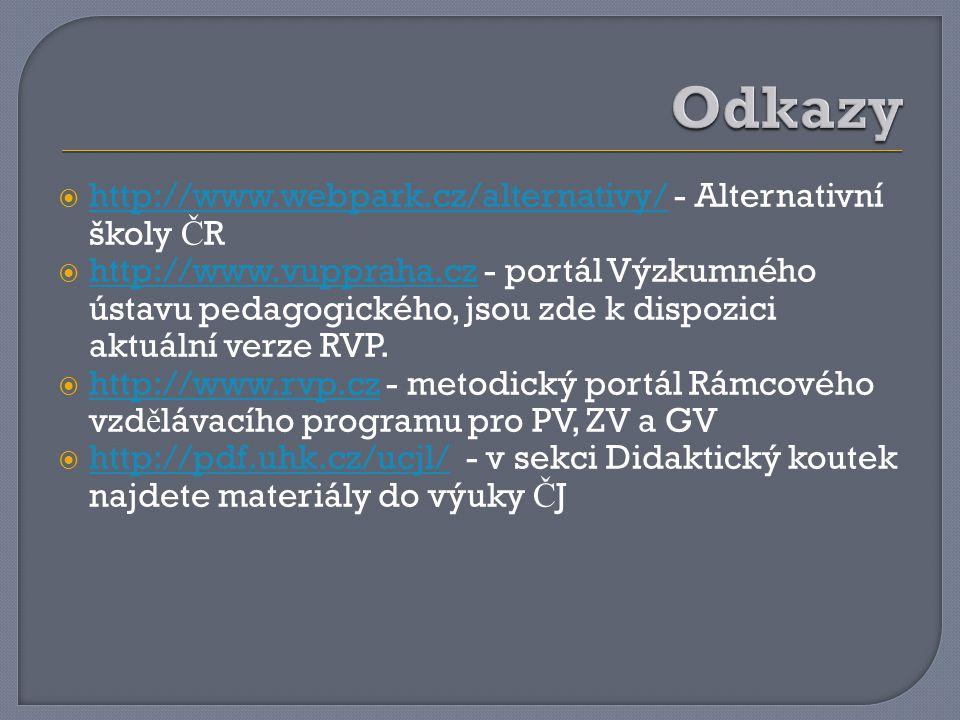 Odkazy http://www.webpark.cz/alternativy/ - Alternativní školy ČR