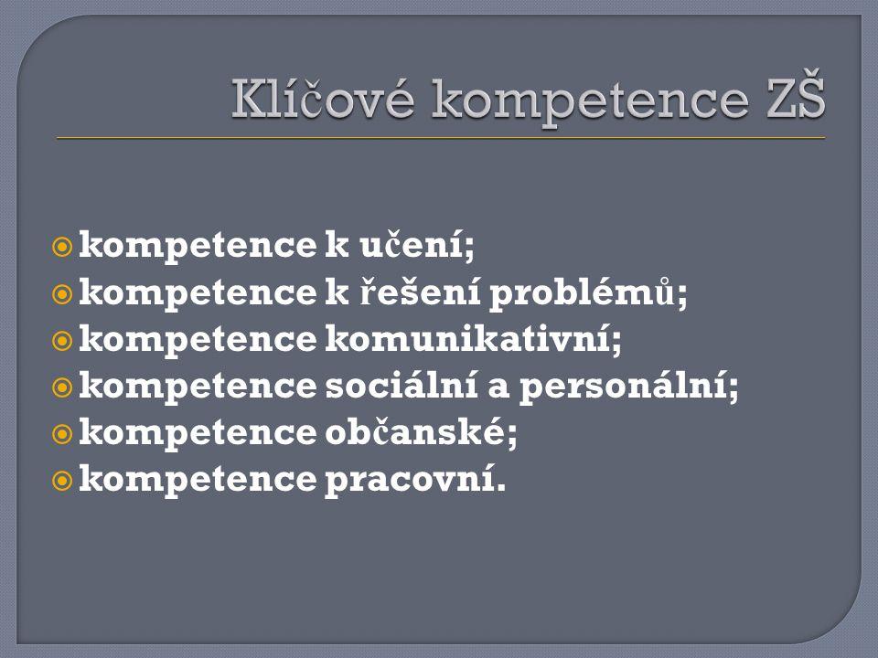 Klíčové kompetence ZŠ kompetence k učení;