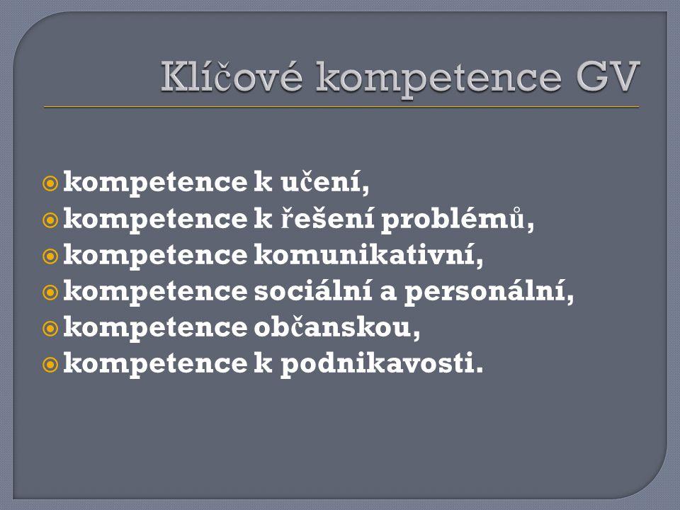 Klíčové kompetence GV kompetence k učení,