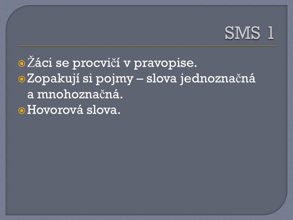 SMS 1 Žáci se procvičí v pravopise.