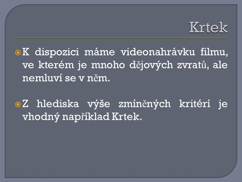 Krtek K dispozici máme videonahrávku filmu, ve kterém je mnoho dějových zvratů, ale nemluví se v něm.
