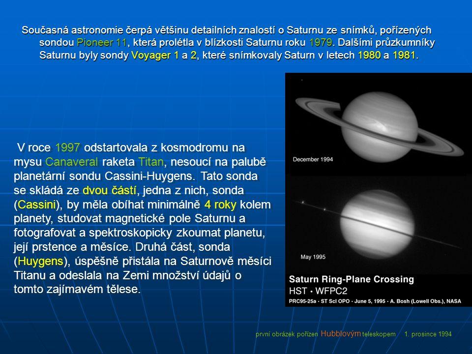 Současná astronomie čerpá většinu detailních znalostí o Saturnu ze snímků, pořízených sondou Pioneer 11, která prolétla v blízkosti Saturnu roku 1979. Dalšími průzkumníky Saturnu byly sondy Voyager 1 a 2, které snímkovaly Saturn v letech 1980 a 1981.