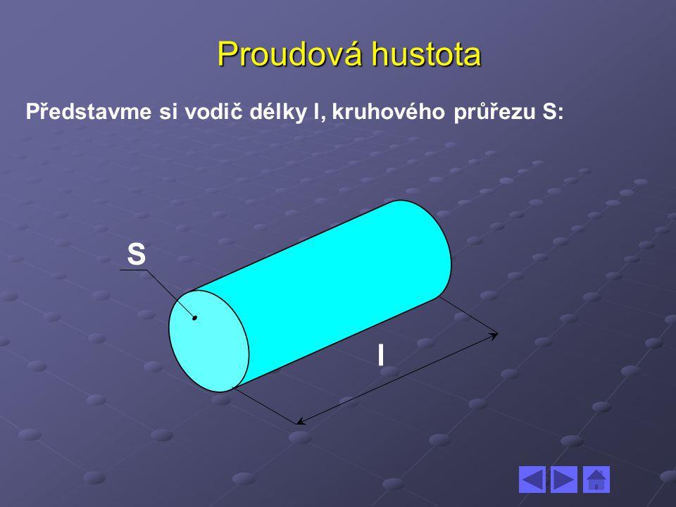 Proudová hustota Představme si vodič délky l, kruhového průřezu S: S l