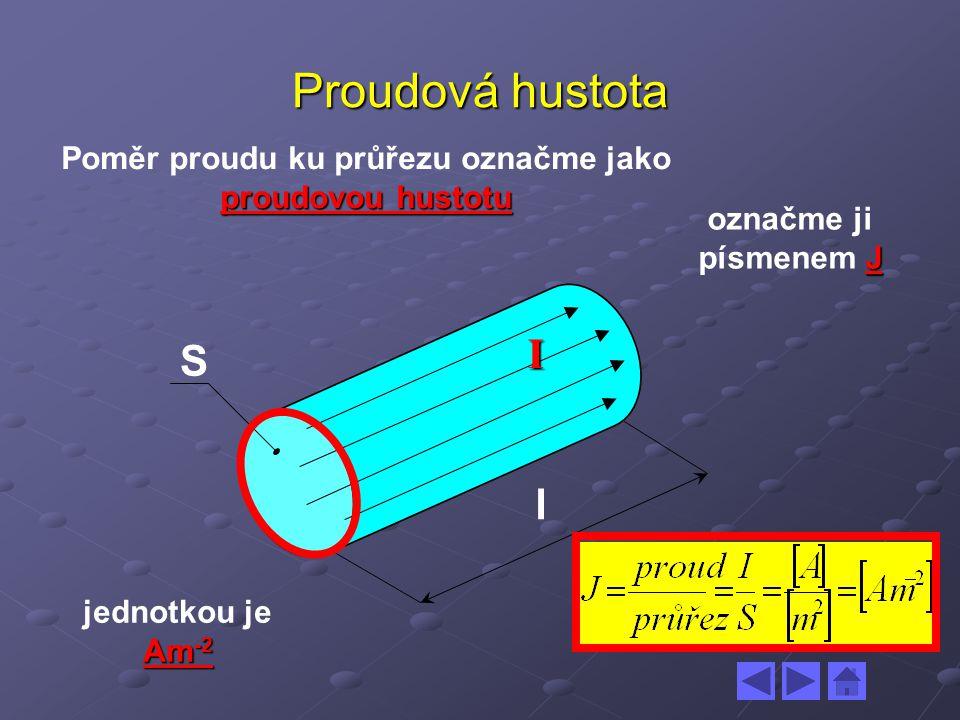 Poměr proudu ku průřezu označme jako proudovou hustotu