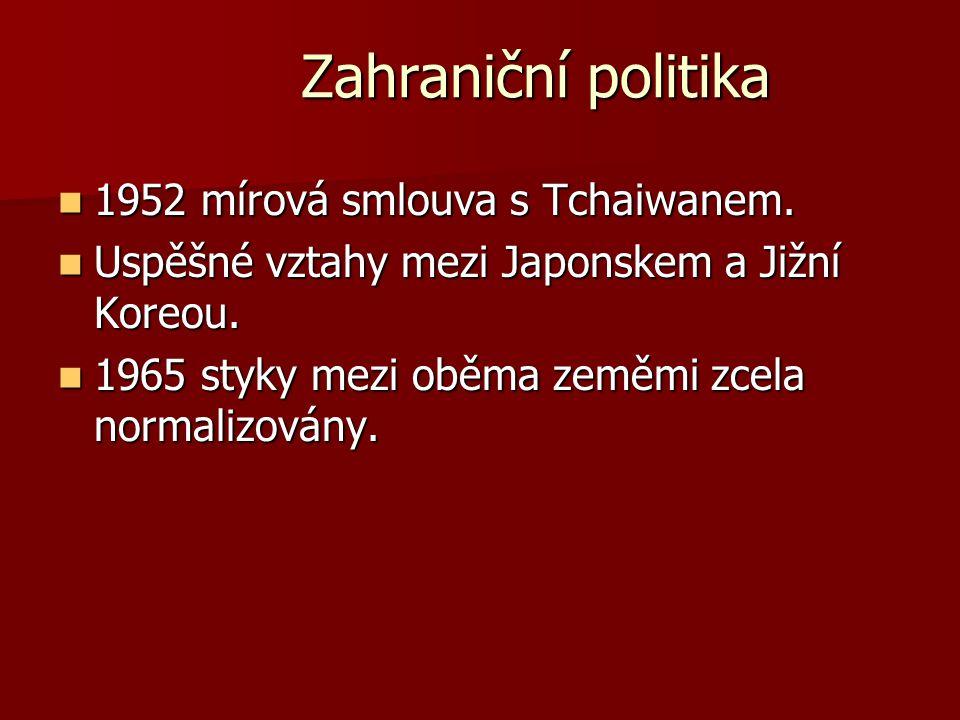 Zahraniční politika 1952 mírová smlouva s Tchaiwanem.