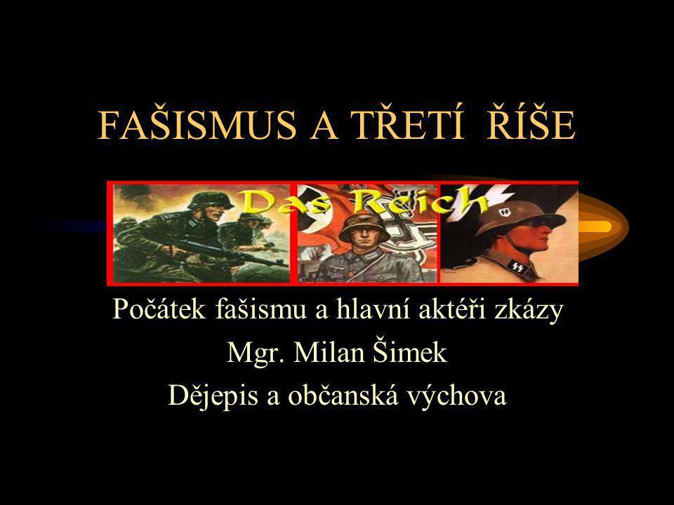 FAŠISMUS A TŘETÍ ŘÍŠE Počátek fašismu a hlavní aktéři zkázy