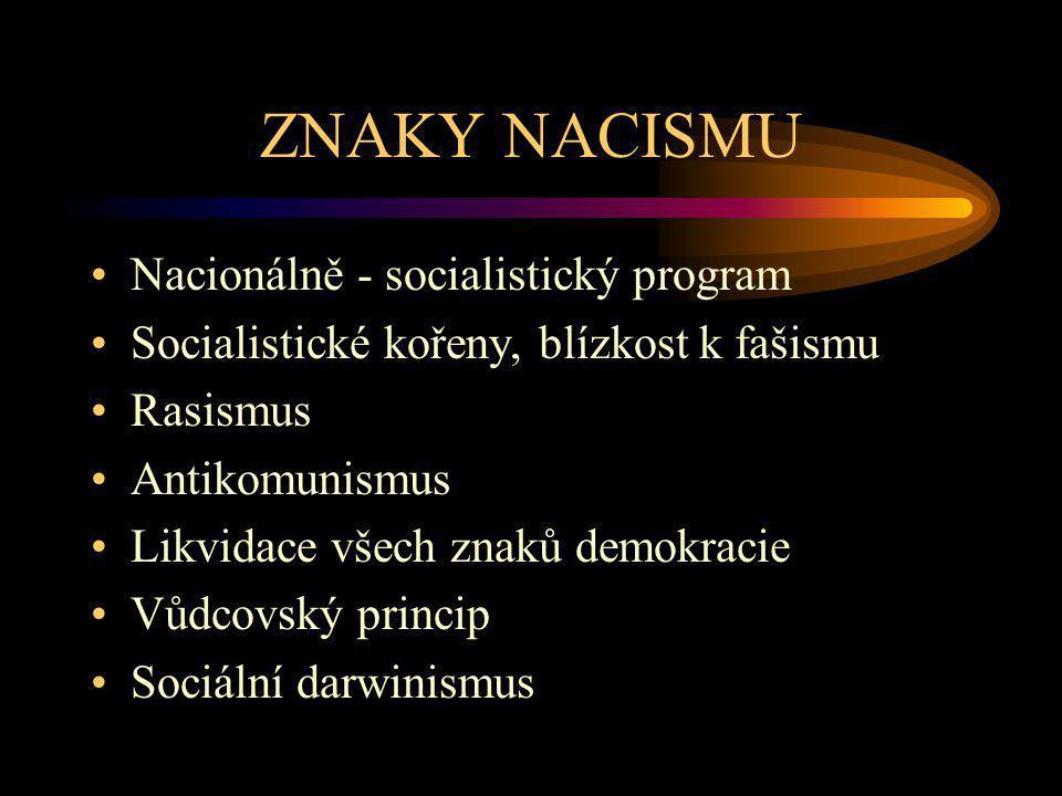 ZNAKY NACISMU Nacionálně - socialistický program