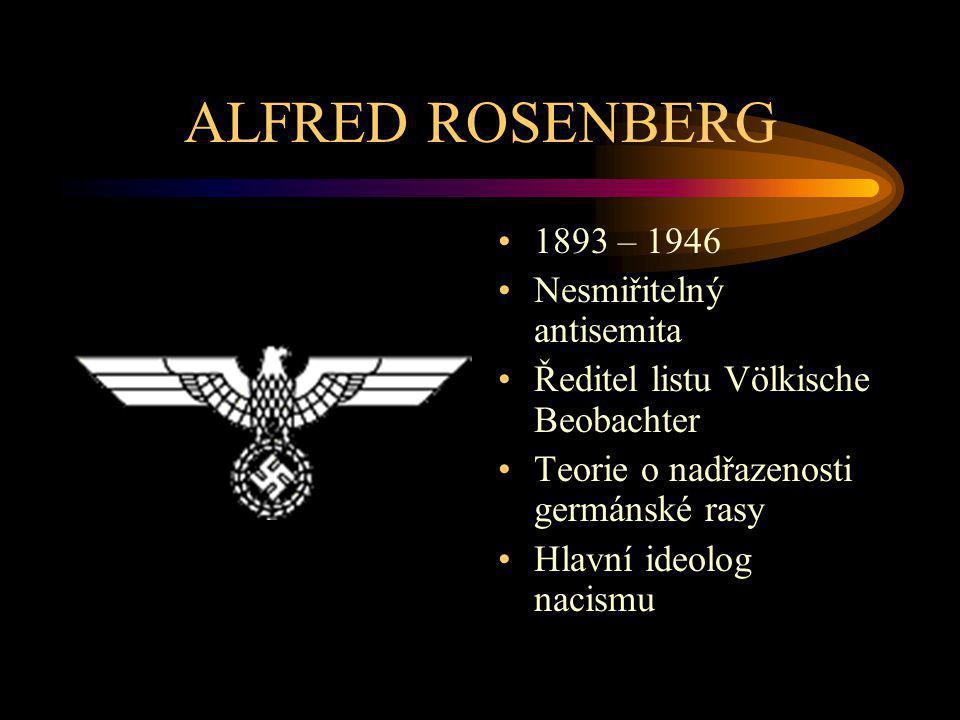 ALFRED ROSENBERG 1893 – 1946 Nesmiřitelný antisemita