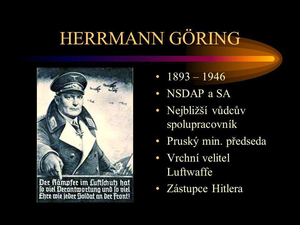 HERRMANN GÖRING 1893 – 1946 NSDAP a SA Nejbližší vůdcův spolupracovník