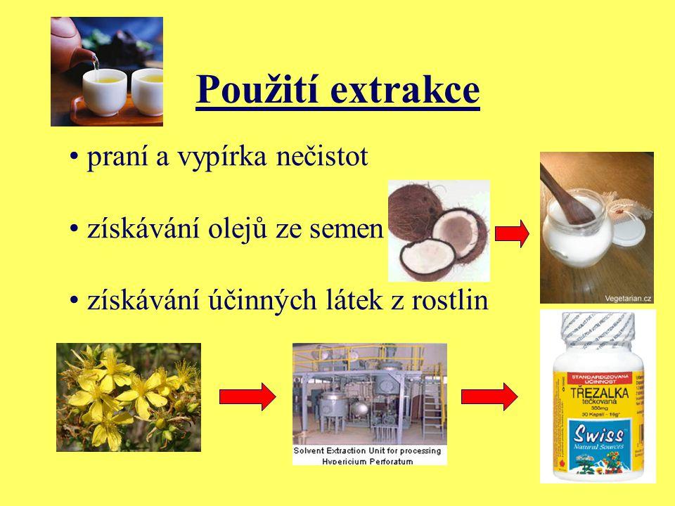 Použití extrakce praní a vypírka nečistot získávání olejů ze semen