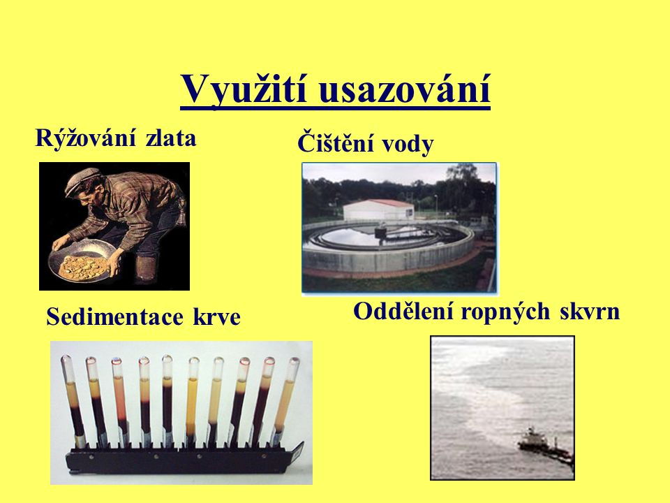 Využití usazování Rýžování zlata Čištění vody Oddělení ropných skvrn