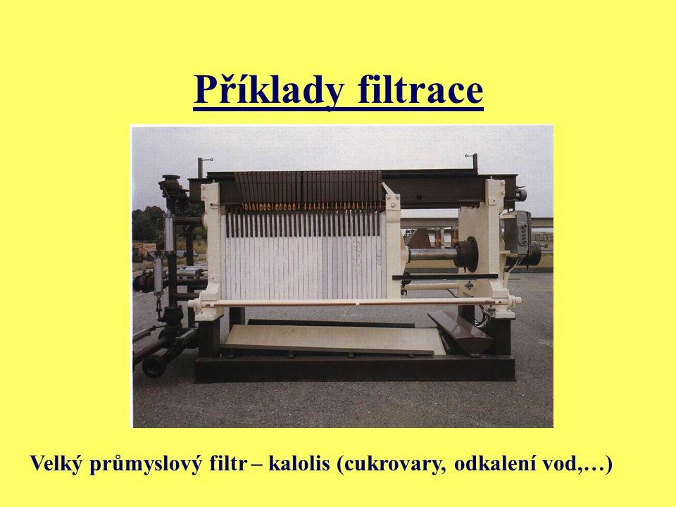 Příklady filtrace Velký průmyslový filtr – kalolis (cukrovary, odkalení vod,…)