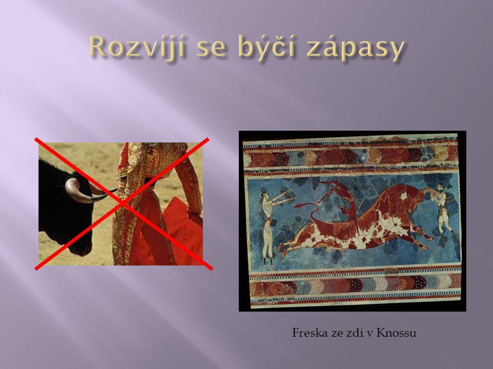 Rozvíjí se býčí zápasy Freska ze zdi v Knossu