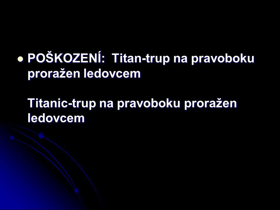 POŠKOZENÍ: Titan-trup na pravoboku proražen ledovcem Titanic-trup na pravoboku proražen ledovcem