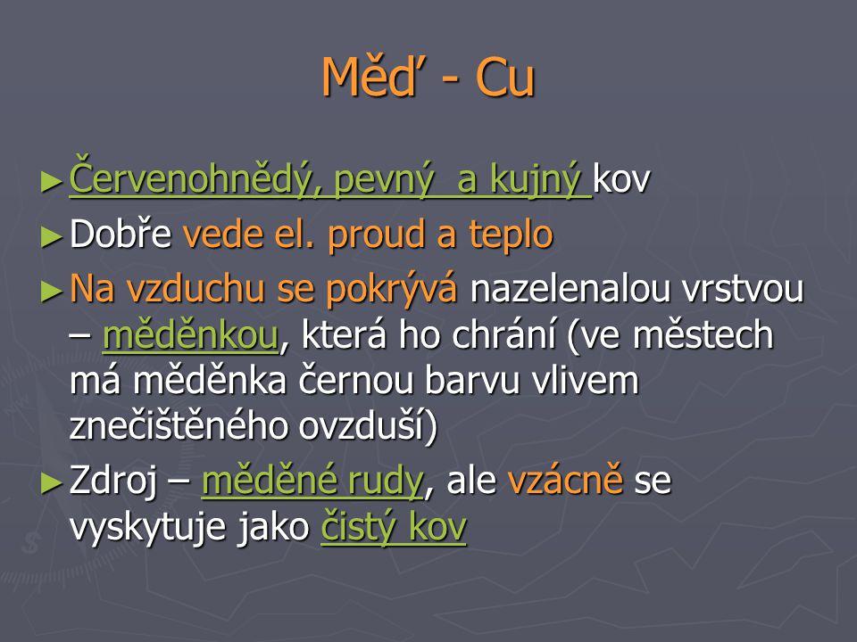 Měď - Cu Červenohnědý, pevný a kujný kov Dobře vede el. proud a teplo