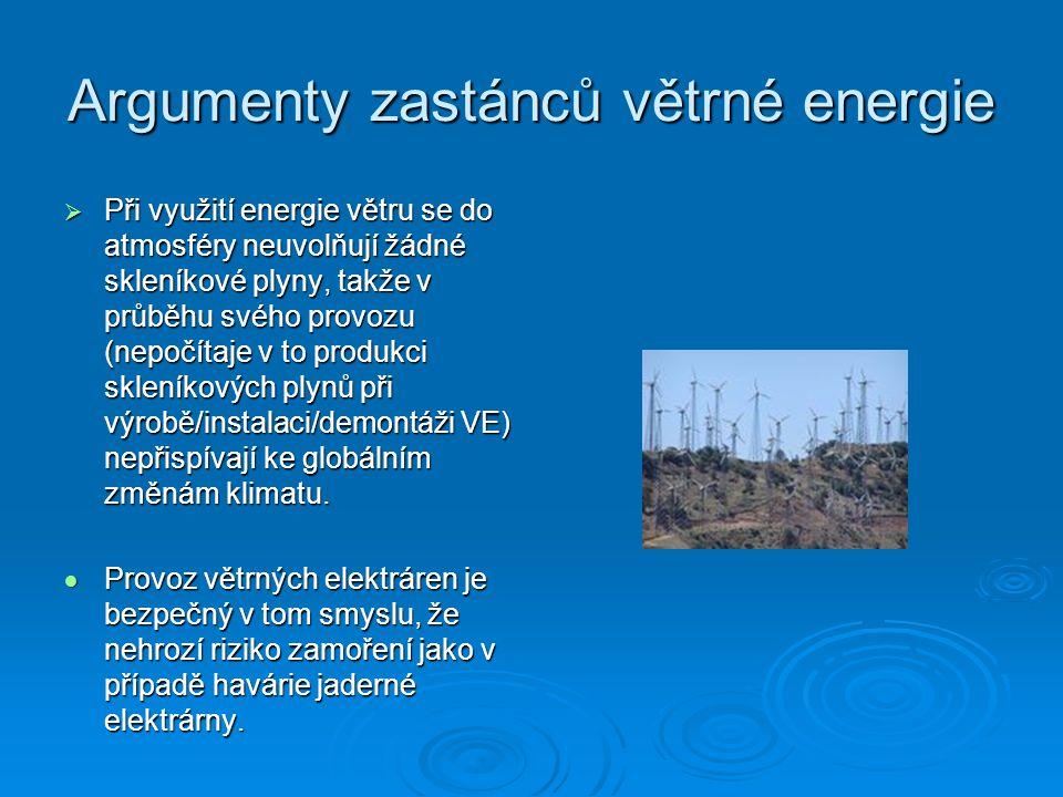 Argumenty zastánců větrné energie